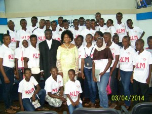 Rev & Mrs Gyasi with pupils from the KLM school in Madina at the launching of KLM, 2013.